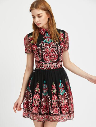 Embroidered Mesh Overlay Skater Dress