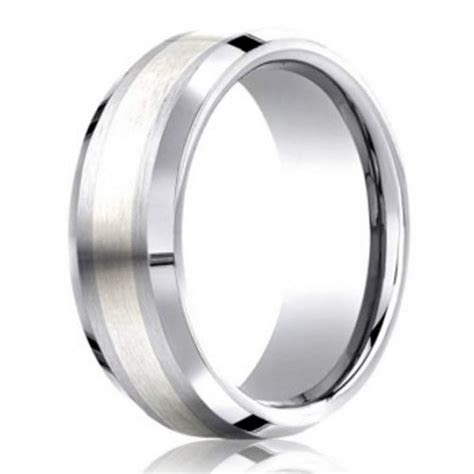 7mm Designer Cobalt Chrome Men's Wedding Ring With Silver