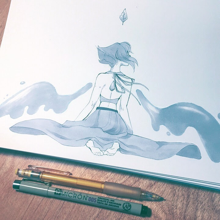Inktober 2017 - Day 4 🌊Water Witch 🌊 Too many favs from Steven Universe, but Lapis is certainly up there 💙