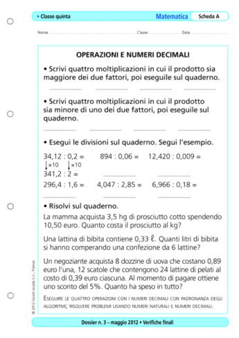 Verifiche finali: matematica, classe 5 - La Vita Scolastica