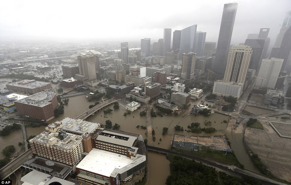 An aerial view of downtown Houston shows the devastating flooding on Tuesday as the water levels continue to rise