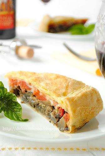 Torta Salata con Melanzane, Pomodori e Caciocavallo-Eggplants, Tomatoes and Caciocavallo Quiche