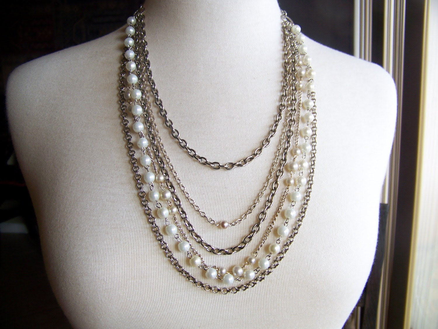 last dance - silver chains and pearls - a necklace of vintage and recycled jewelry