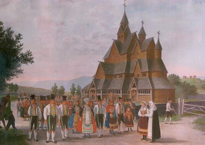 File: Stave church Heddal, Johannes Flintoe, 1828.png