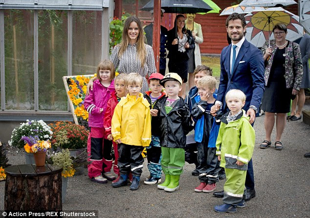 The happy couple, who wed in a lavish ceremony in June, then stopped by the children's vegetable garden