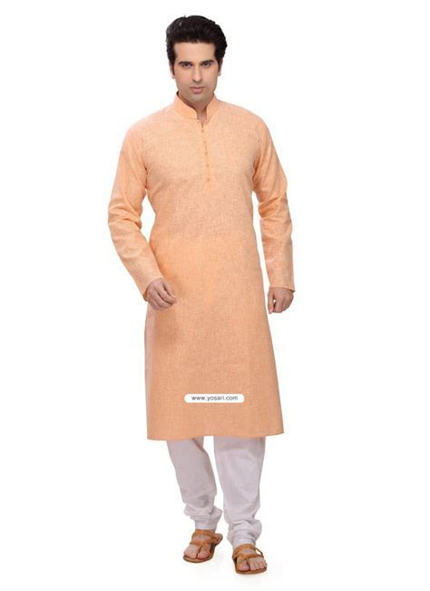 Buy Orange Designer Cotton Kurta Pajama For Men   Kurta Pajama