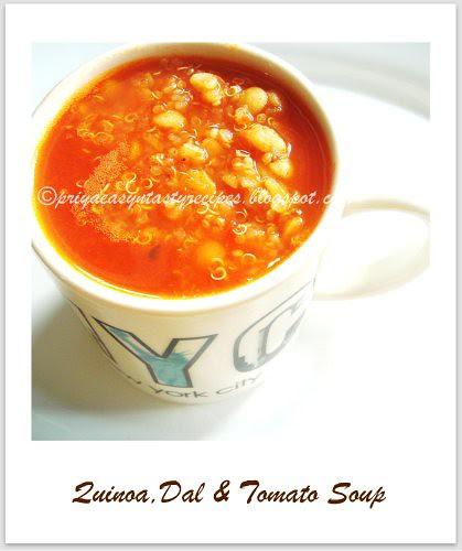 Quinoa,dal & tomato soup