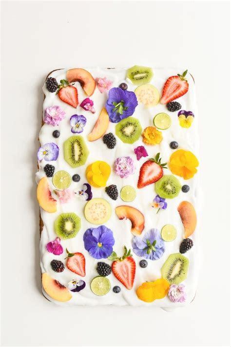Yogurt Sheet Cake Recipe with Fruit & Edible Flowers
