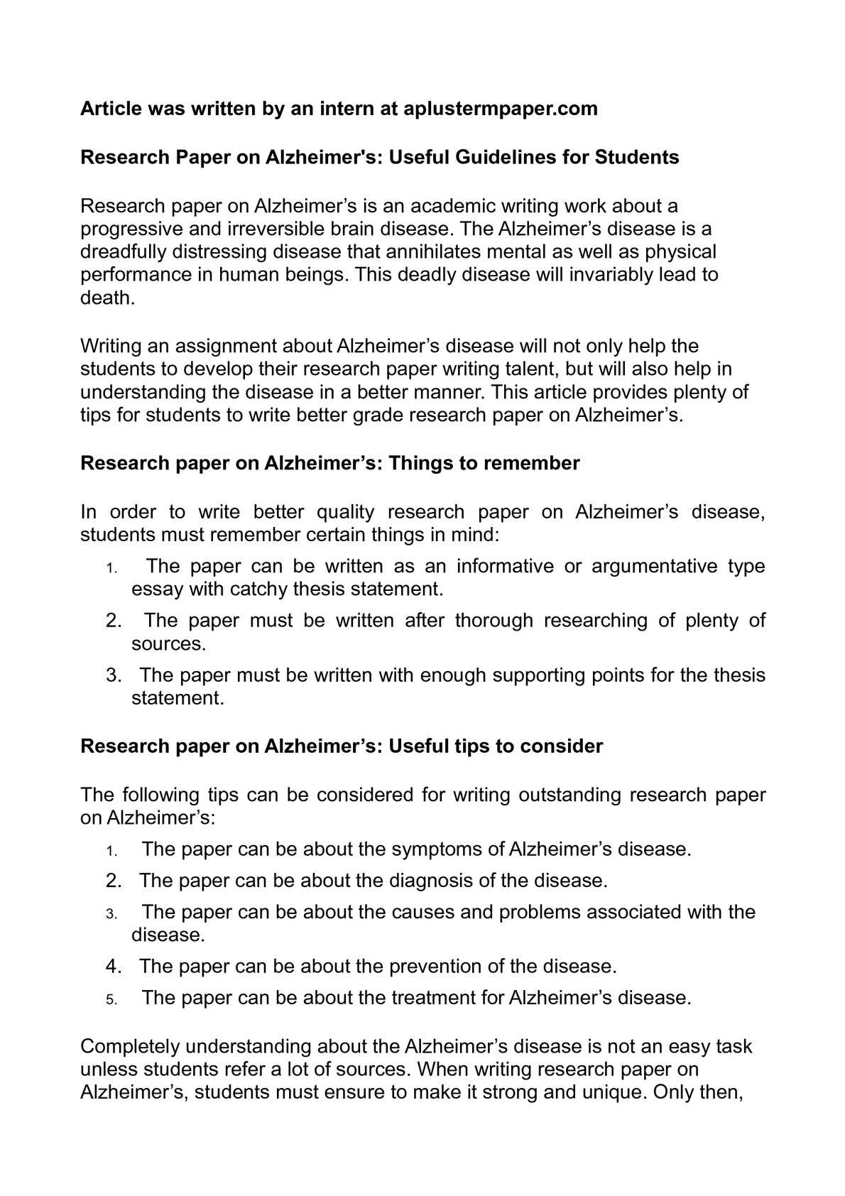 a good thesis statement for alzheimers disease