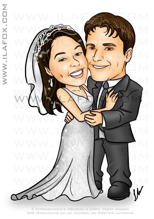 Caricatura colorida casal corpo inteiro, noivos, noivinhos Ana Carla e Leonardo, caricatura para casamento,  by ila fox