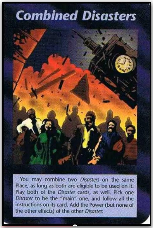 """The Illuminati Playing cards have prophecized many events, including 9-11. In the """"Combined Disasters"""" card, one can clearly see Big Ben tumbling down while in the forefront while a man wearing a yellow shirt is shown to have a zombie-like appearance."""