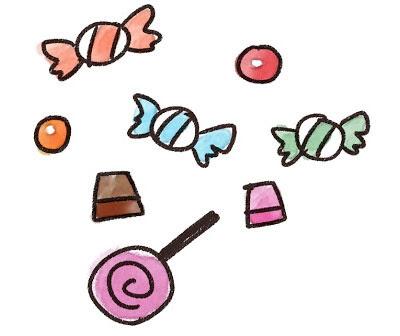 無料素材 キャンディーやチョコレートなどのたくさんのお菓子を描いた
