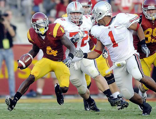 USC tailback Joe McKnight has the Ohio State defense turning circles during a big gain in the first half Saturday, September 13, 2008.