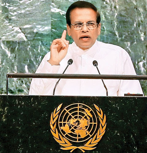 President Maithripala Sirisena addressing the 72nd Sessions of the United Nations General Assembly in New York on Tuesday. Picture by Sudath Silva. (See page 05)
