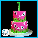 Pink Gerbera Daisy 1st Birthday Cake   Blue Sheep Bake Shop