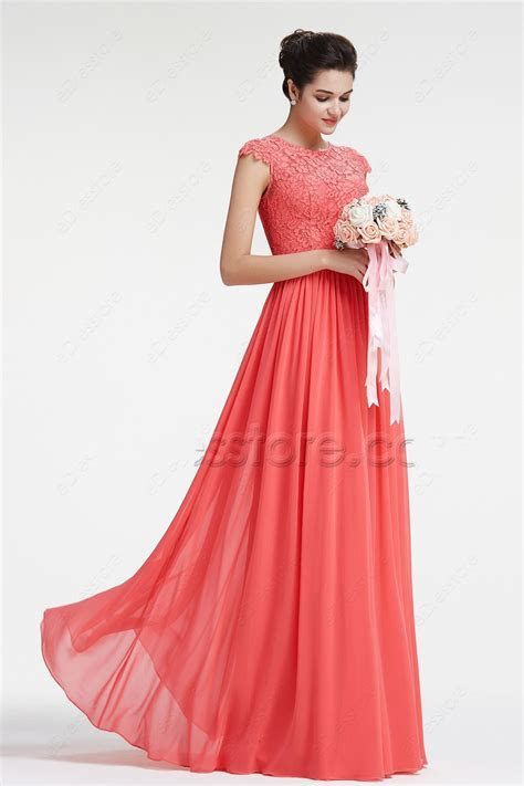 Cecelle 2016 Coral Modest Chiffon Lace Bridesmaid Dresses
