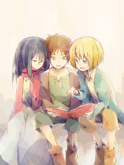 Mikasa Eren And Armin Shingeki No Kyojin Attack On Titan Fan Art 36796232 Fanpop