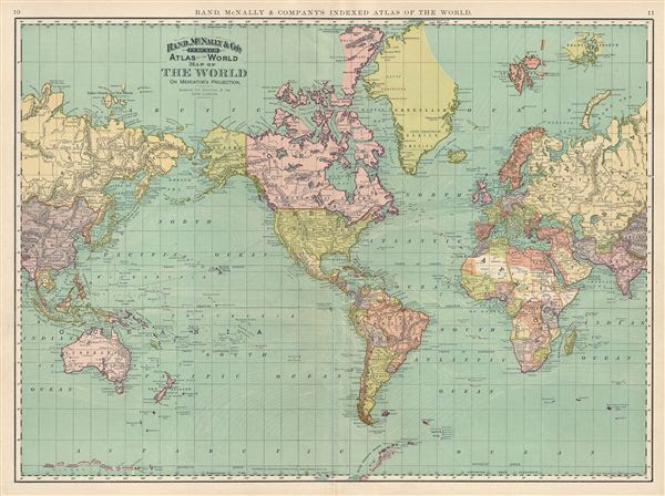 Map Of The World On Mercators Projection Showing The