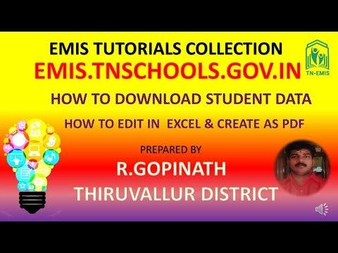 EMIS ல் மாணவர்களின் அனைத்து  விவரங்களையும் EXCEL PDF  பதிவிறக்கம் செய்து பிரிண்ட் செய்து பயன்படுத்துவது  எப்படி?