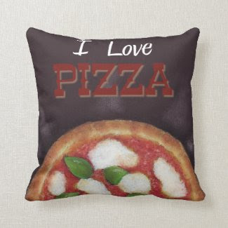 "I Love Pizza Throw Pillow 16"" x 16"""