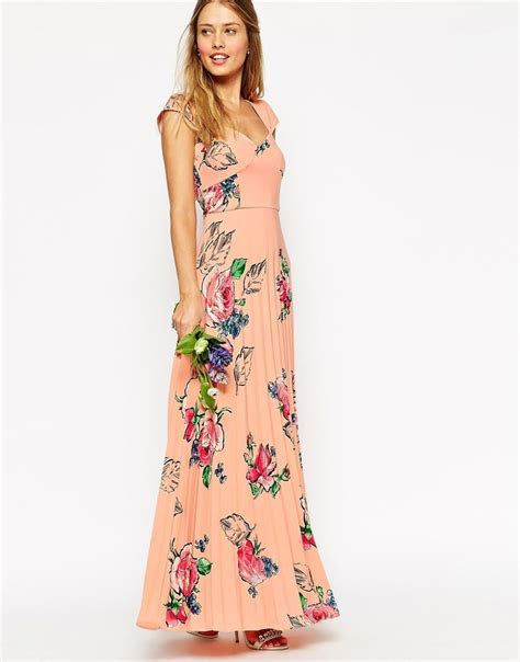 WEDDING Maxi Tea Dress With Pleated Skirt In Rose Print