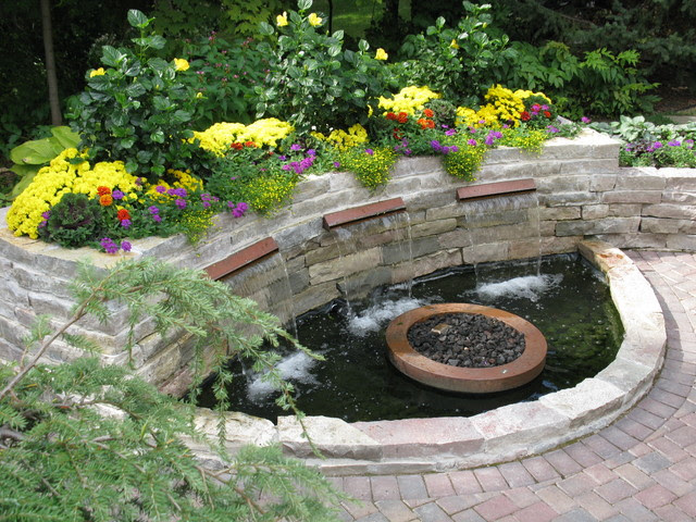 Backyard Patio with Water Feature - Traditional - Patio ...