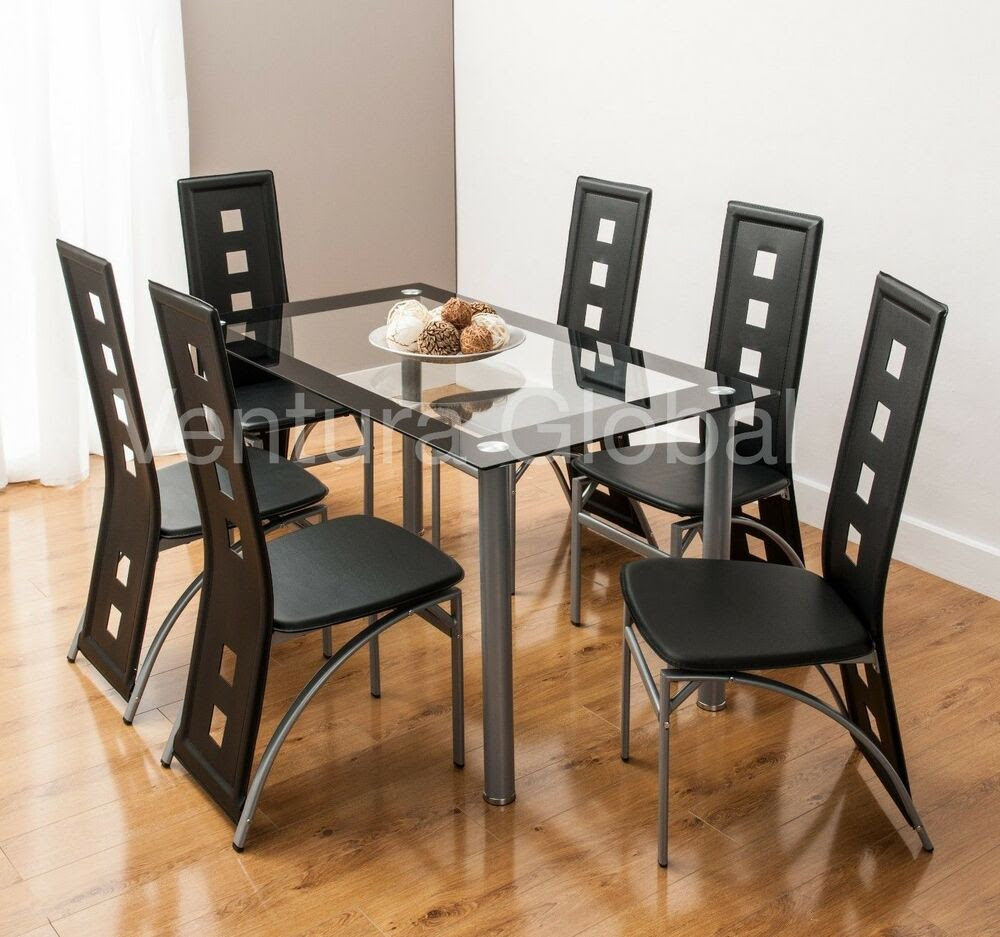 Glass Dining Room Table Set and 4 or 6 Faux Leather Chairs Square Back  eBay