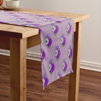 Purple and White Pretty Flowers Design Short Table Runner