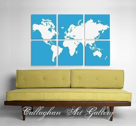 Custom World Map Collection of 6 - Original Silk Screen Prints