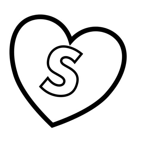 Dibujo De Letra S En Corazón Para Colorear Dibujos Para Colorear