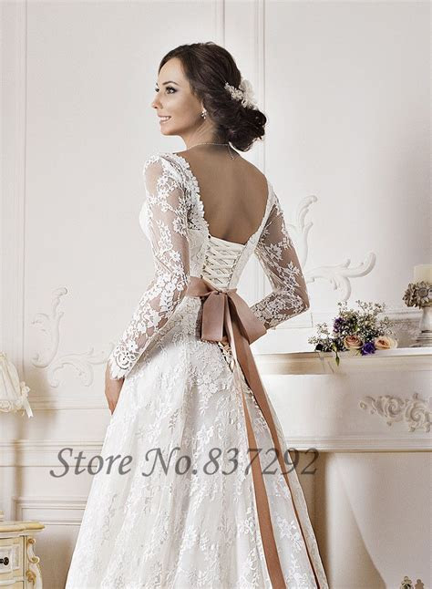 Gorgeous White Lace Long Sleeve Wedding Dresses A Line