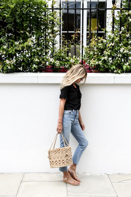 Spring Summer Blogger Style Eyelet Button Down Top High Waist Fray Hem Jeans Woven Basket Tote Sandals Via Fashion Me Now Le Fashion Blog