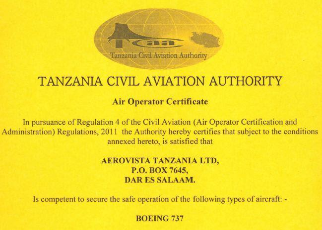 AeroVista's AOC from the Tanzanian CAA for Boeing 737s