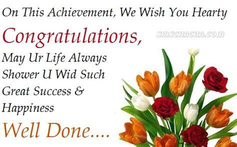 On This Achievement, We Wish You Hearty Congratulations