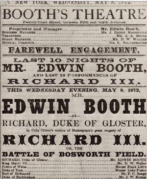 Playbill advertising American actor Edwin Boot...