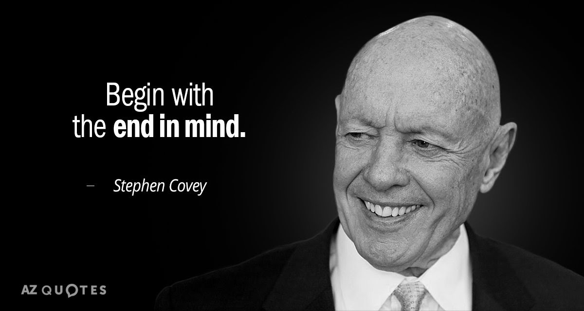 Stephen Covey Quote Begin With The End In Mind