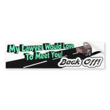 Back Off Legal Bumper Sticker bumpersticker