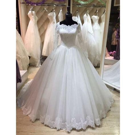 Elegant Long Sleeves Lace Cheap Long Wedding Dresses