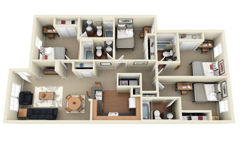 "50 Four ""4"" Bedroom Apartment/House Plans | Architecture ..."