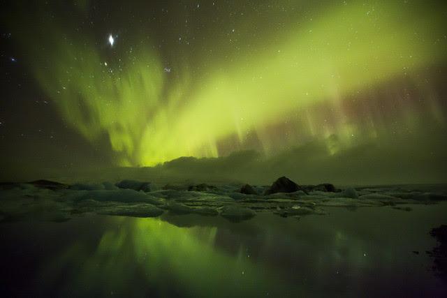 Northern Lighs in Jokulsarlon Iceland