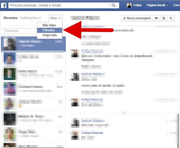 Acesse a pasta de mensagens filtradas (Foto: Felipe Alencar/TechTudo)