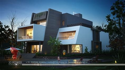 ultra modern day  night rendering  elevation