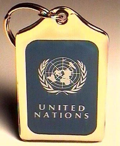 国際連合 国連 ゴールドプレートキーホルダー 並行輸入
