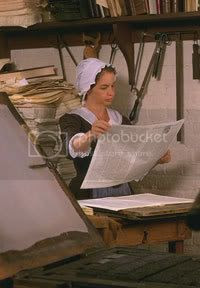 colonial woman printer