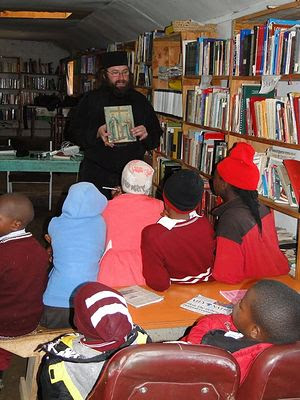 Fr. Silouan teaching a lesson at St. Barnabas' Orphanage and Education Center