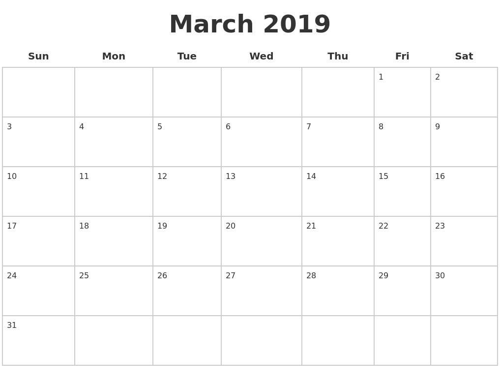 march 2019 blank calendar pages