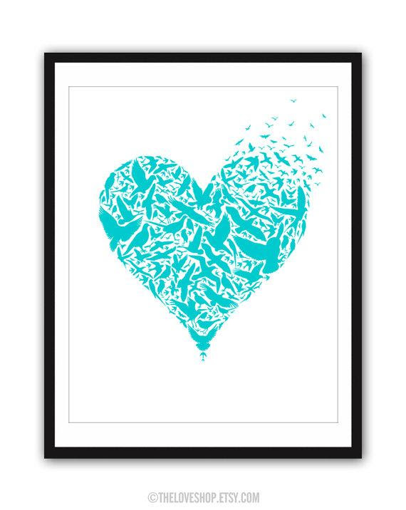 Be Free Huge 16x20 inch Poster on A2 in Turquoise by theloveshop