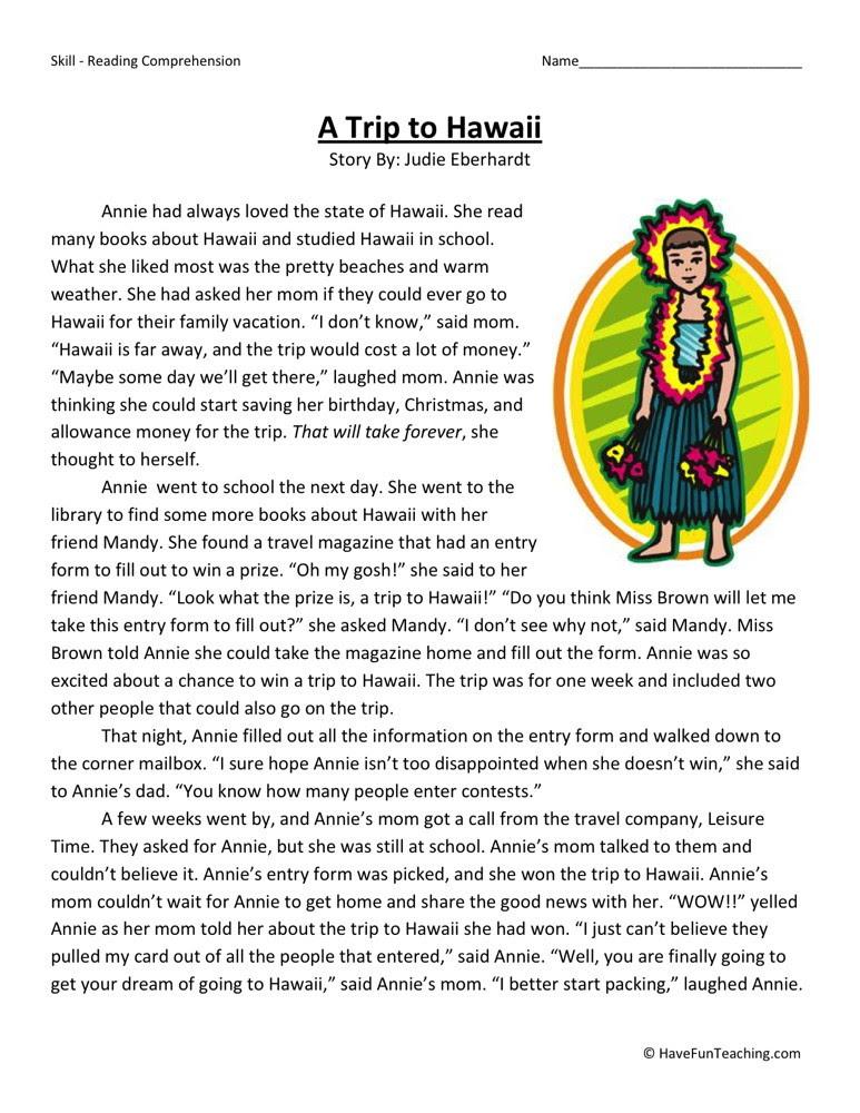 Reading Prehension Worksheet A Trip To Hawaii