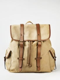 He By Mango Contrast Canvas Backpack