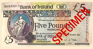 A £5 Sterling note issued by Bank of Ireland i...